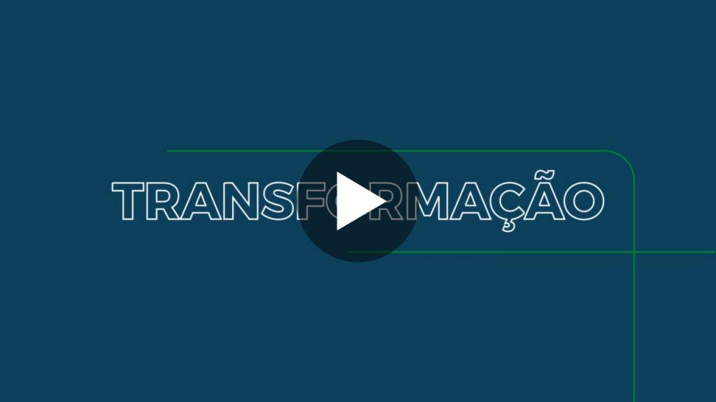 Capa do vídeo da nova marca da Ambient, com a palavra Transformação em evidência. A palavra está escrita em traços brancos sob um fundo azul, uma das cores da nova marca da empresa.